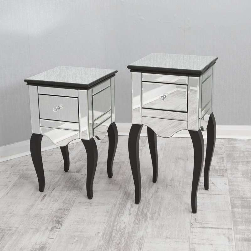 1 Drawer Mirrored Bedside Table