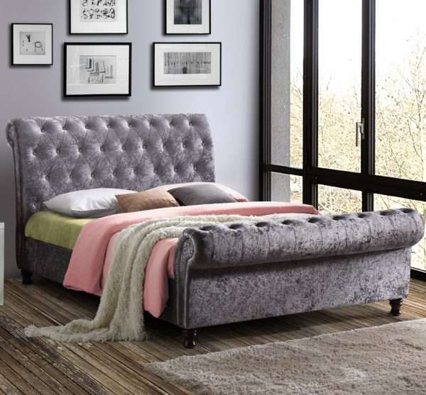 Katie Upholstered Sleigh Bed