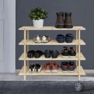 4-Tier Wood Shoe Rack