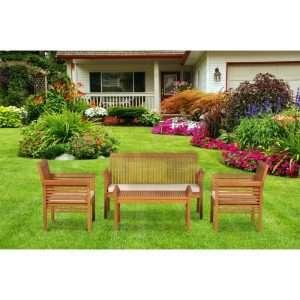 4 Seater Wood Sofa Set