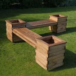 Americus Wooden Planter Bench