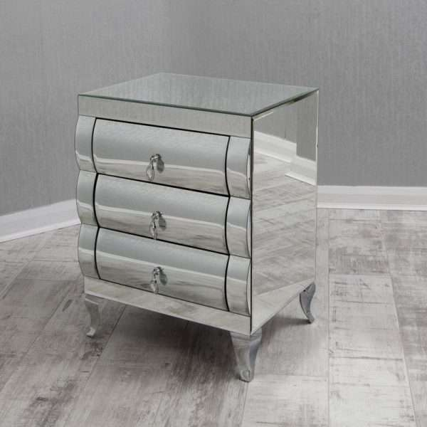 Branch Curved Mirrored Bedside Table