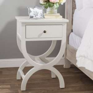Cafar White Bedside Table