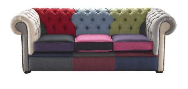 Colourful 3 Seater Chesterfield Sofa