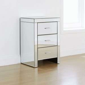 Hector 3 Drawer Mirrored Bedside Table