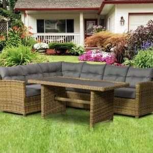 Judah Rattan Corner Sofa Set
