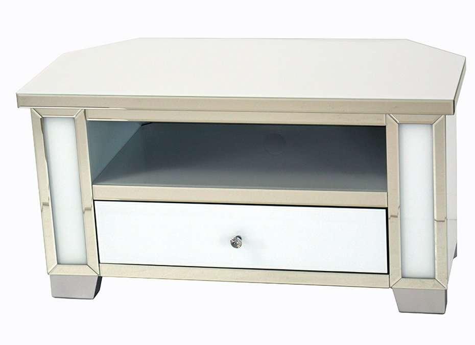 June Mirrored Corner Tv Stand, Mirrored Glass Corner Tv Stand