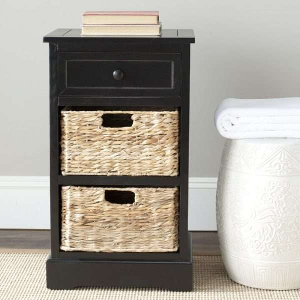Juneau Black Bedside Table