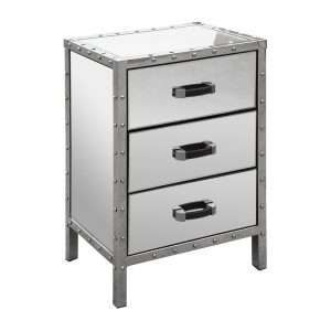 Rivet Mirrored Bedside Table