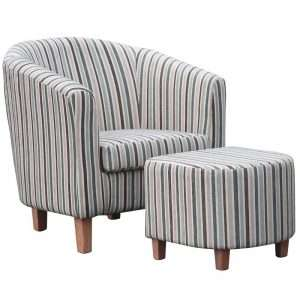 Striped Tub Chair & Footstool