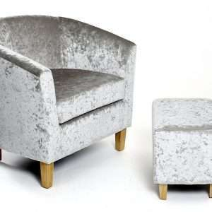 Velvet Tub Chair with Footstool